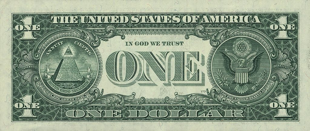 Illuminati symbolism on the one dollar banknote