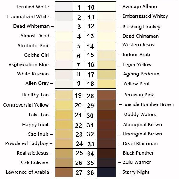 World Skin Tone Chart With Names And Color Codes Studioknow