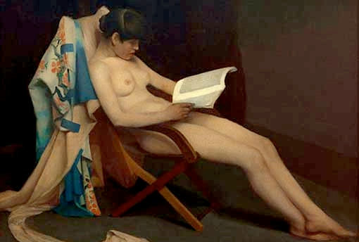 pretty naked women reading